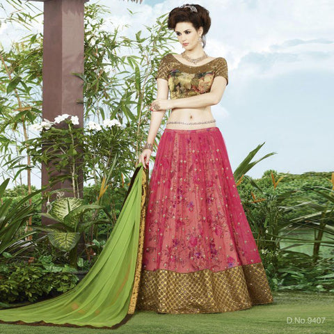 Pink Color Net Unstitched Lehenga - TT-9407
