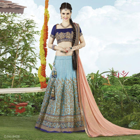 SkYBlue Color Raw Silk Unstitched Lehenga - TT-9408