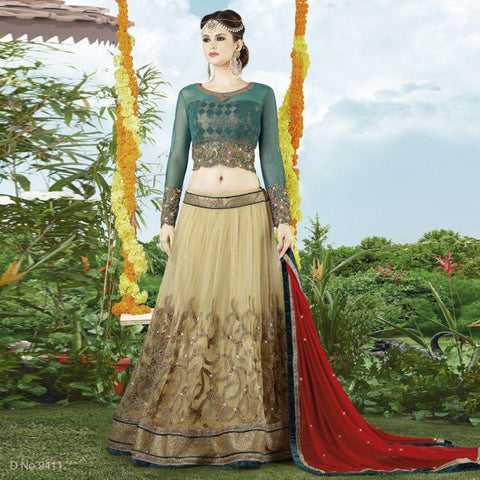 Beige Color Net Unstitched Lehenga - TT-9411