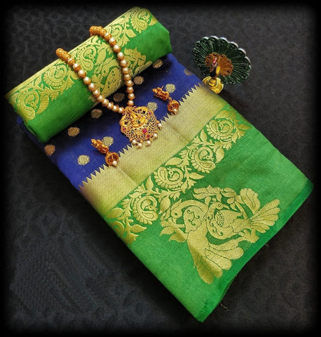 Blue and Green Color Tussar Silk Saree - TUSSARBLUEGREEN