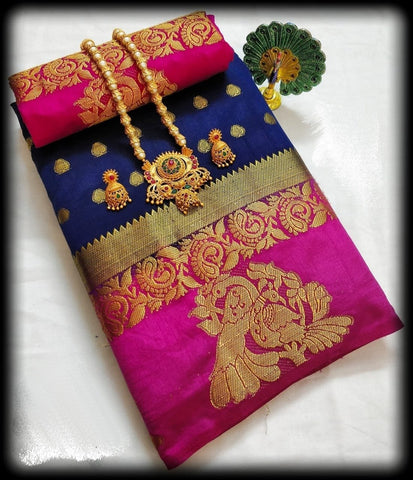 Blue and Pink Color Tussar Silk Saree - TUSSARBLUEPINK