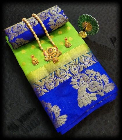 Green  and Blue Color Tussar Silk Saree - TUSSARGREENBLUE