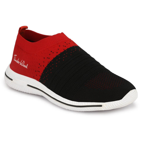 Red and Black Color Fly Knit Men Shoe - TWRIB-BK-RED