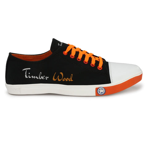 Black and Orange Color Canvas Men Sneaker - TWSN-BLK-ORNGE