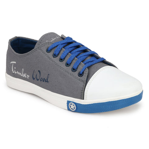 Grey and Blue Color Canvas Men Sneaker - TWSN-GRY-BLU