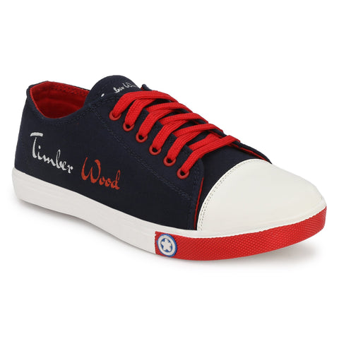 Navy and Red Color Canvas Men Sneaker - TWSN-NAVY-RED