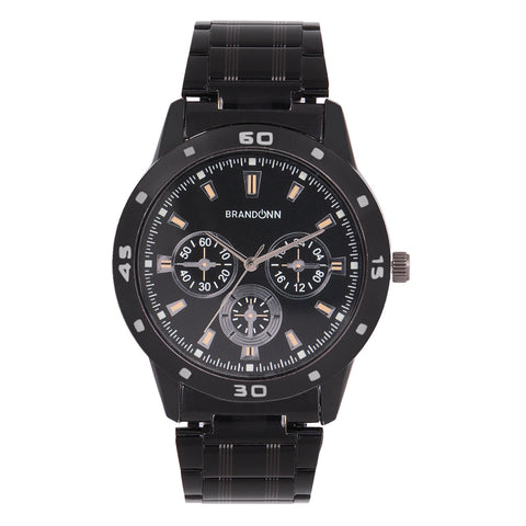 Black Color Metal Analog Watch - TYM-CHAIN-BLCK-003