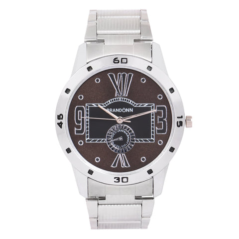 Silver Color Metal Analog Watch - TYM-CHAIN-SLVR-BLK-001