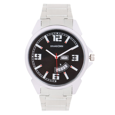 Silver Color Metal Analog Watch - TYM-CHAIN-SLVR-BLK-DD-011