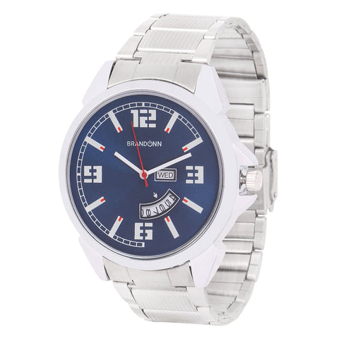Silver Color Metal Analog Watch - TYM-CHAIN-SLVR-BLU-DD-009