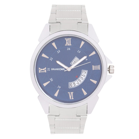 Silver Color Metal Analog Watch - TYM-CHAIN-SLVR-NAVY-DD-005