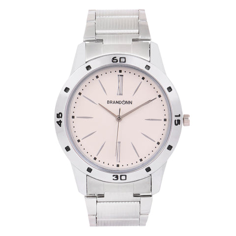 Silver Color Metal Analog Watch - TYM-CHAIN-SLVR-PNK-004