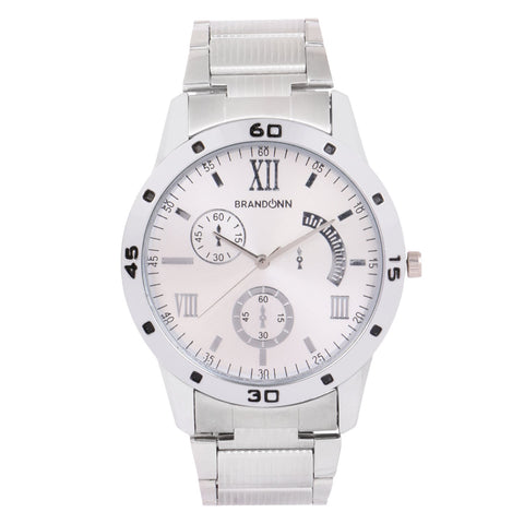Silver Color Metal Analog Watch - TYM-CHAIN-SLVR-WHT-008