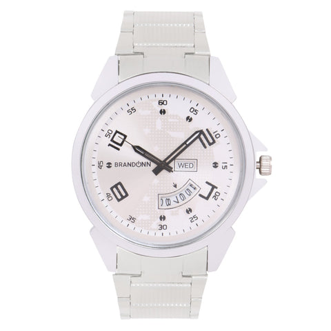 Silver Color Metal Analog Watch - TYM-CHAIN-SLVR-WHT-DD-012