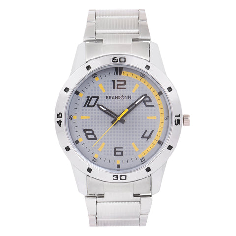 Silver Color Metal Analog Watch - TYM-CHAIN-SLVR-YLO-010