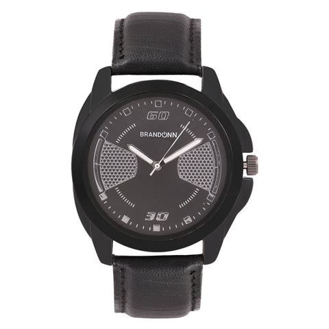 Black Color Leather Analog Watch - TYM-LDR-BLK-005