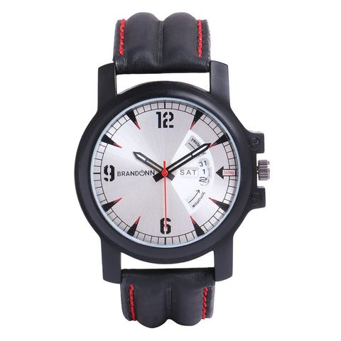Black Color Leather Analog Watch - TYM-LDR-BLK-SLVR-DD-001