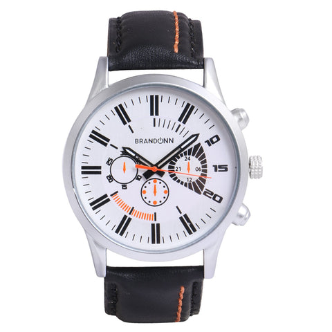 Black Color Leather Analog Watch - TYM-LDR-BLK-WHT-002