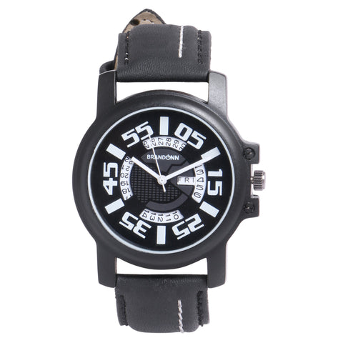Black Color Leather Analog Watch - TYM-LDR-BLK-WHT-007