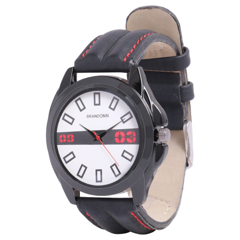 Black Color Leather Analog Watch - TYM-LDR-BLK-WHT-CLASSIC-011