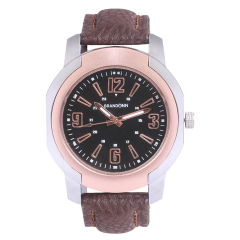 Brown Color Leather Analog Watch - TYM-LDR-BRWN-BLK-006
