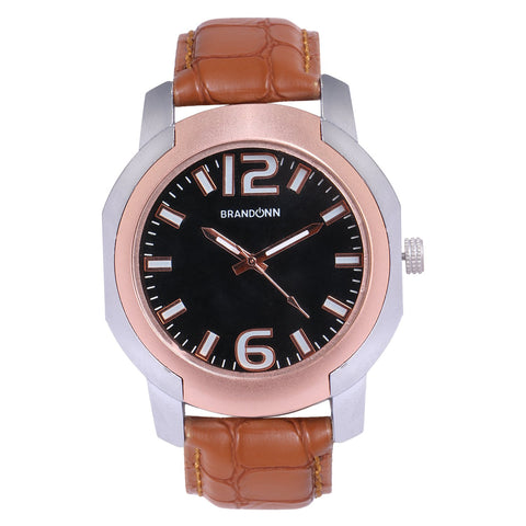 Brown Color Leather Analog Watch - TYM-LDR-BRWN-BLK-009