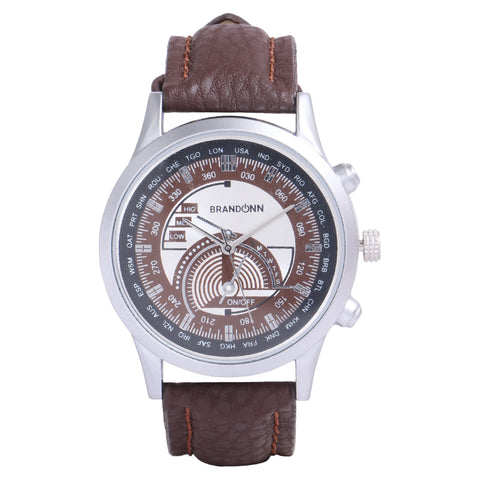Brown Color Leather Analog Watch - TYM-LDR-BRWN-SLVR-010
