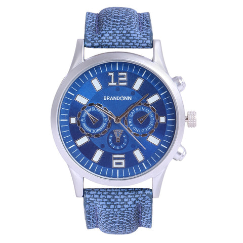 Blue Color Leather Analog Watch - TYM-LDR-DENIM-BLU-008