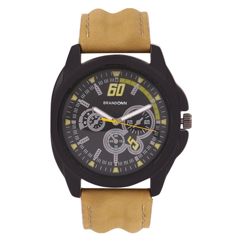 Beige Color Leather Analog Watch - TYM-LDR-MHND-BLK-004
