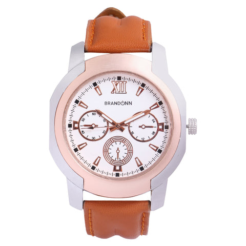 Beige Color Leather Analog Watch - TYM-LDR-RUST-WHT-003