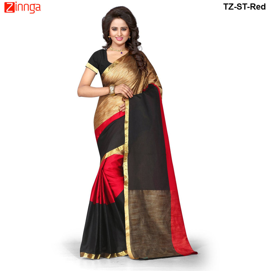 TRENDZ STYLE-Women's Beautiful Tussar Silk Saree - TZ-ST-Red