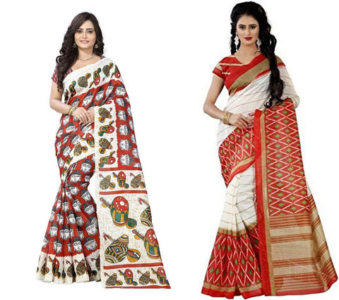 Bhagalpuri Combo Sarees - Tabla-Orange