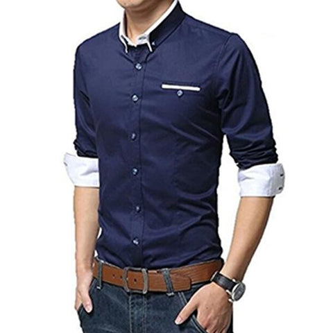 Navy Blue Color Cotton Mens Shirt - Tamanna-105