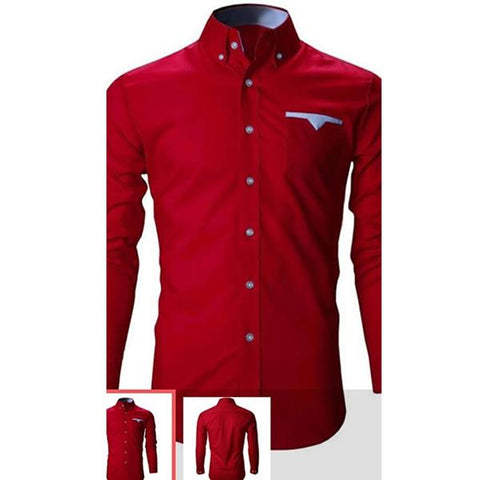 Red Color Cotton Mens Shirt - Tamanna-107
