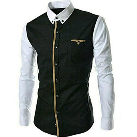 Black And White Color Cotton Mens Shirt - Tamanna-108