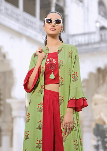 Red and Light Green Color Rayon Kurti - Trends-1131