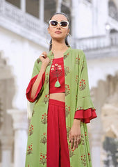 Buy Red and Light Green Color Rayon Kurti