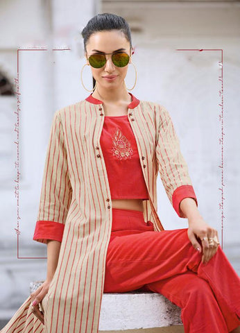 Red and Cream Color Rayon Kurti - Trends-1132