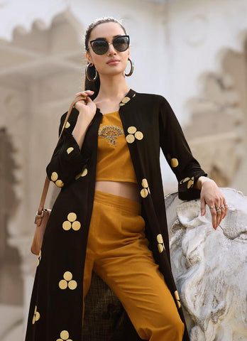 Black and Brown Color Rayon Kurti - Trends-1133