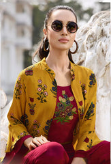 Mustard and Pink Color Rayon Kurti - Trends-1134