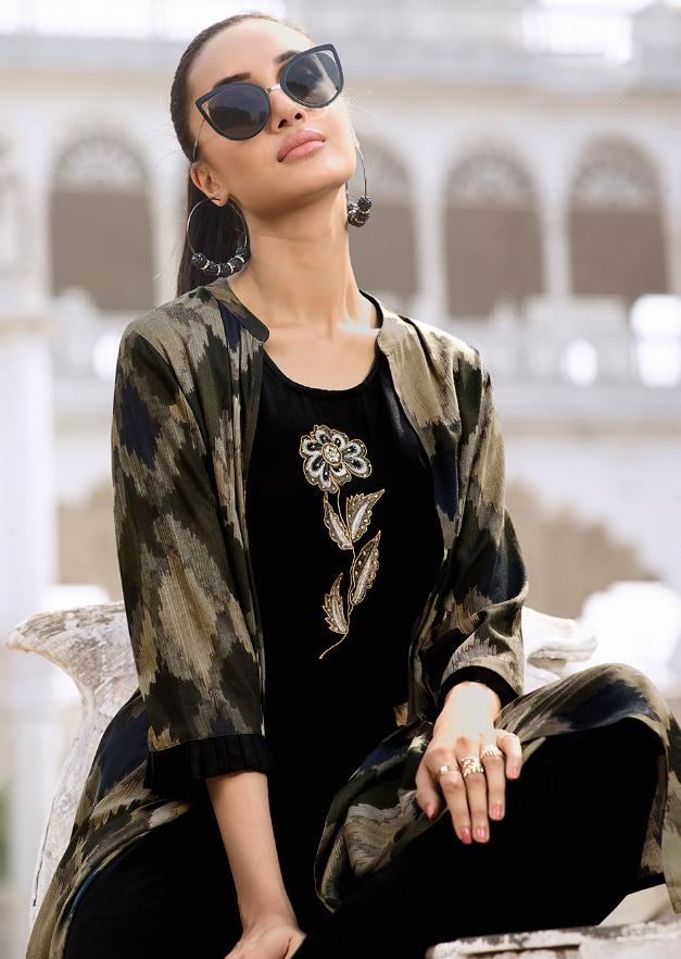Buy Black and Beige Color Rayon Kurti