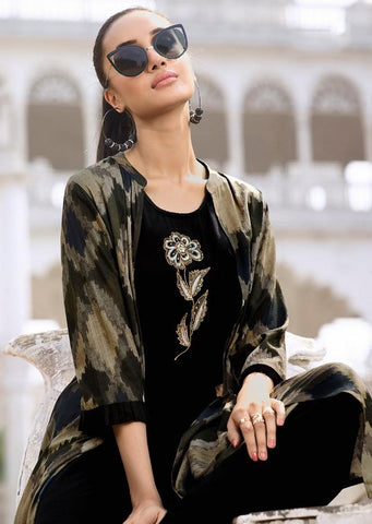 Black and Beige Color Rayon Kurti - Trends-1136