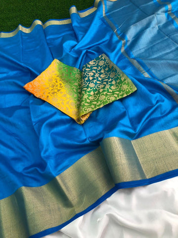 SkyBlue Color Plain Tussar Silk Saree - Tussersilkskyblue