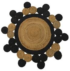 Black And Brown Color Jute Floor Rug - UE-RJ-01