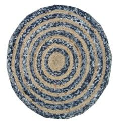 Blue And Brown Color Jute And Chindi Floor Rug - UE-RJ-02