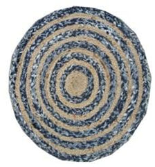 Buy Blue And Brown Color Jute And Chindi Floor Rug