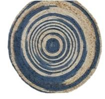 Blue And Brown Color Jute Floor Rug - UE-RJ-07