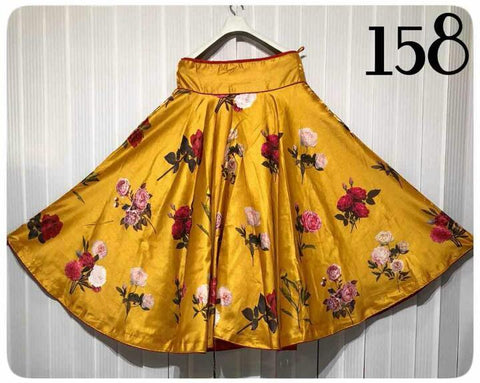 Mustard Color Banglori Satin Silk Stitched Skirt - UFZ-158