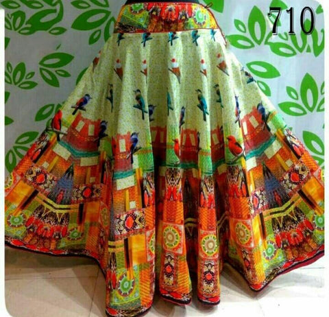 Multi Color Banglori Satin Silk Stitched Skirt - UFZ-710