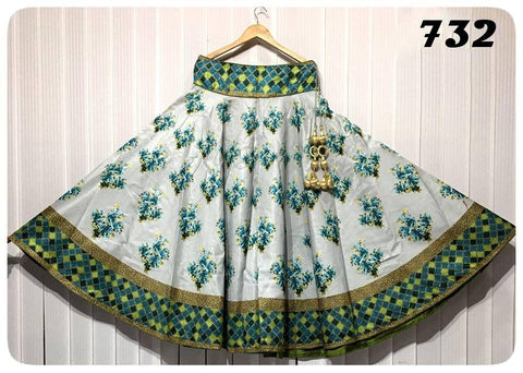 White Color Banglori Satin Silk Stitched Skirt - UFZ-732